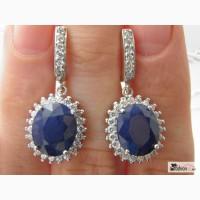 Серебряные серьги с крупными синими сапфирами