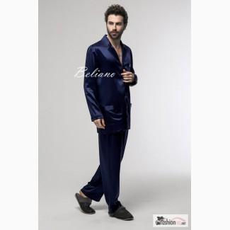 Мужская шелковая пижама синего цвета из натурального шелка (рубашка и брюки)