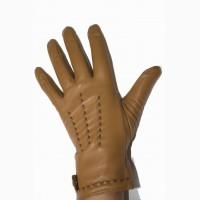 Кожаные коричневые перчатки женские на меху