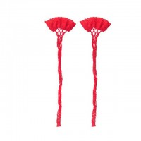 Длинные гольфы в сеточку белого и красного цвета