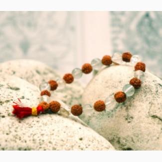 Браслет из рудракши с натуральніми камнями