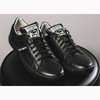 Мужские кожаные черные кеды Adidas Stan Smith 10765