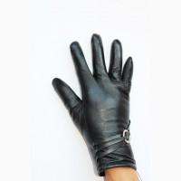 Кожаные перчатки женские на меху