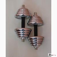 Гантели наборные сталь хром, комплект 20кг, 2шт 10+10кг