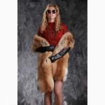 Накидка палантин из меха финской рыжей длинноворсной лисы SAGA FURS