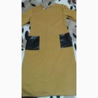 Длинное платье миди горчичного цвета/довга сукня міді гірчичного кольору
