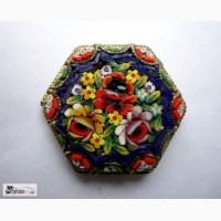 Брошь изящная венецианская мозаика старая, Италия