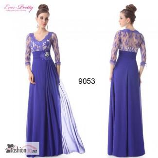 Вечернее платье синее из шифона