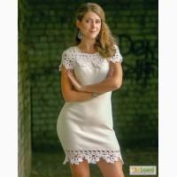 Вязаное белое нежное платье, с ажурной отделкой верха и низа крючком, в наличии и на заказ