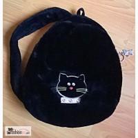Рюкзак на одну шлейку Черный кот искуственный мех. Б/У