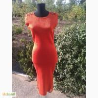 Вязаное платье, с ажурной отделкой крючком, с ажурными вставками, с ввязанным бисером