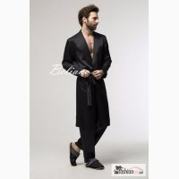Мужской шелковый комплект для дома - халат и брюки от Beliano. Натуральный шелк, черный, с