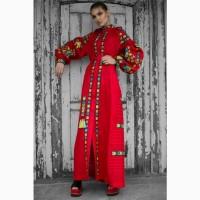 Платье HISTROV с вышивкой красного цвета в пол. Бохо стиль, этно одежда