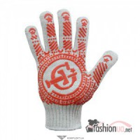 Перчатки трикотажные с ПВХ белые GloveTex, 7кл, 90г, арт.765