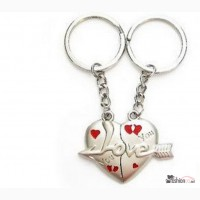 Двойные брелки - влюбленные сердца