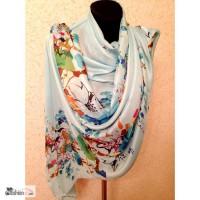Широкий шелковый шарф, разные расцветки