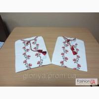 Блуза вышитая для девочки (Вышиванка) Троянди (ЛЕН) (короткий рукав)