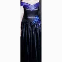 Продам вечернее черное атласное платье