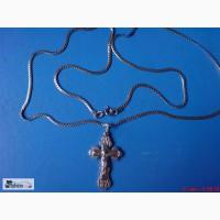 Крестик и цепочка позолоченные 925 проба