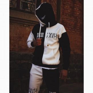 Теплый спортивный костюм Sad Smile черно белая