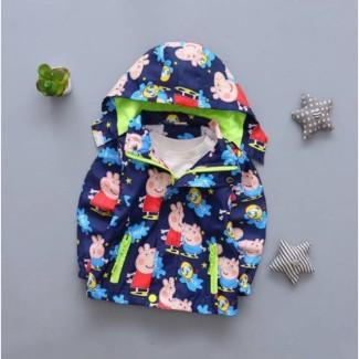 Демисезонная детская куртка на флисе свинка Пеппа синяя