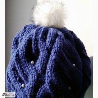 Продам вязанную шапку с меховым помпоном
