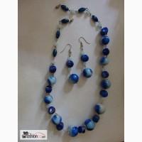 Бусы и серьги Бело-синяя керамика