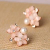 Сережки красивые светло-розовые для невесты//кульчики світло-рожеві для нареченоі
