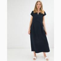Летнее платье из льна Season в стиле бохо темно-синее