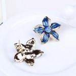 Комплект Квіти колье сережки синий