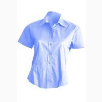 Рубашка женская с коротким рукавом голубая