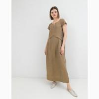 Летнее платье из льна season цвета горчица