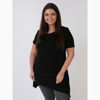 Женская блузка удлиненная, женский, черный-белый