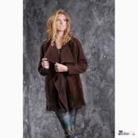Пальто из кашемира цвета Горький шоколад и меха датской норки