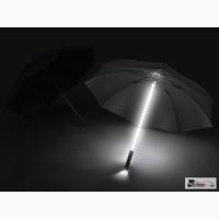 Светящийся зонт черный с белой подсветкой