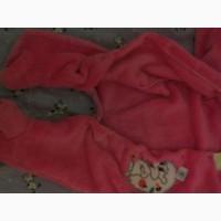 Повний розпродаж!!Піжамка махрова для немовлят/человечек теплый с капюшоном розового цвета