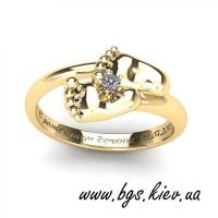 Золотое кольцо Ножки малыша, кольцо пяточки младенца