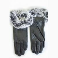 Перчатки натуральная кожа, на меху, с опушкой)