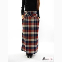 Женская хлопковая юбка в пол Тартан синий/терракот