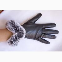 Женские кожаные перчатки Сенсорные, на меху