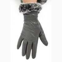 Женские кожаные перчатки на меху с опушкой, очень теплые