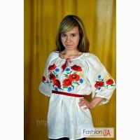 Блуза вышитая (Вышиванка) МАКИ (ЛЕН) (длинный рукав)