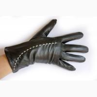 Женские кожаные перчатки на меху