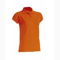 Женская футболка-поло оранжевая 100% хлопок
