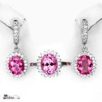 Серебряный НАБОР (серьги+кольцо) с розовым топазом