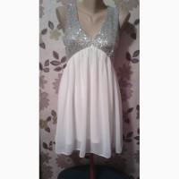 Продам белое шифоновое платье с блестками на трикотажной подкладке