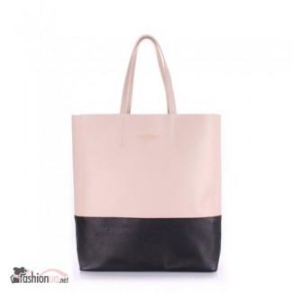 Кожаная сумка POOLPARTY City (city-beige-black)