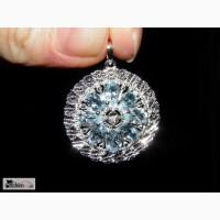 Серебряный кулон с топазами и бриллиантом