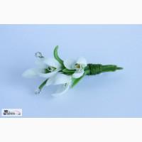 Брошь цветы Подснежники