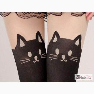 Колготки с рисунком кошки и хвостиком